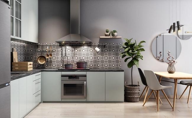 L-образная кухня со столом
