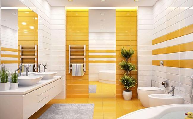 жёлтая ванная комната