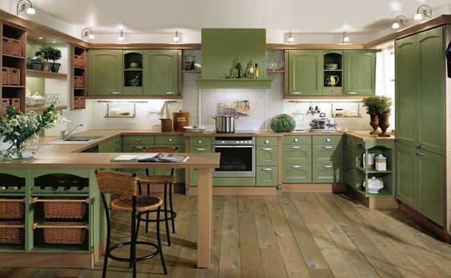 матовая зеленая кухня
