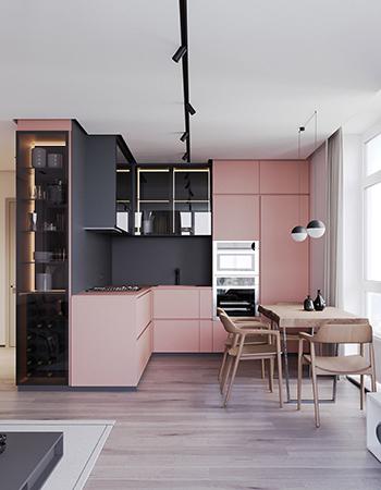 серая кухня с розовым