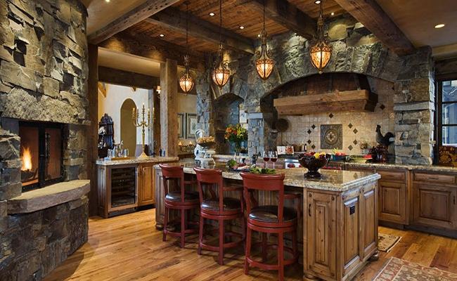 кухня с камнем