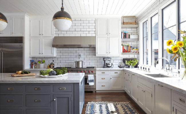 кухня белая с серым
